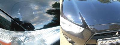Пример покраски капота Mitsubishi ASX в кузвоном цехе Алмас